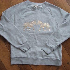 J Crew Gold Zebra Gray Crewneck Sweatshirt